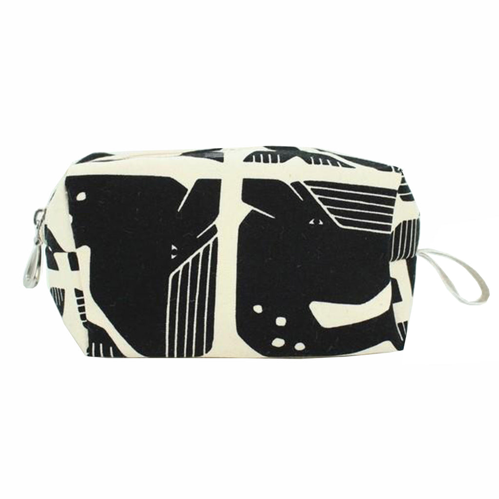 dana herbert black white whale small cotton canvas dopp kit cosmetic bag