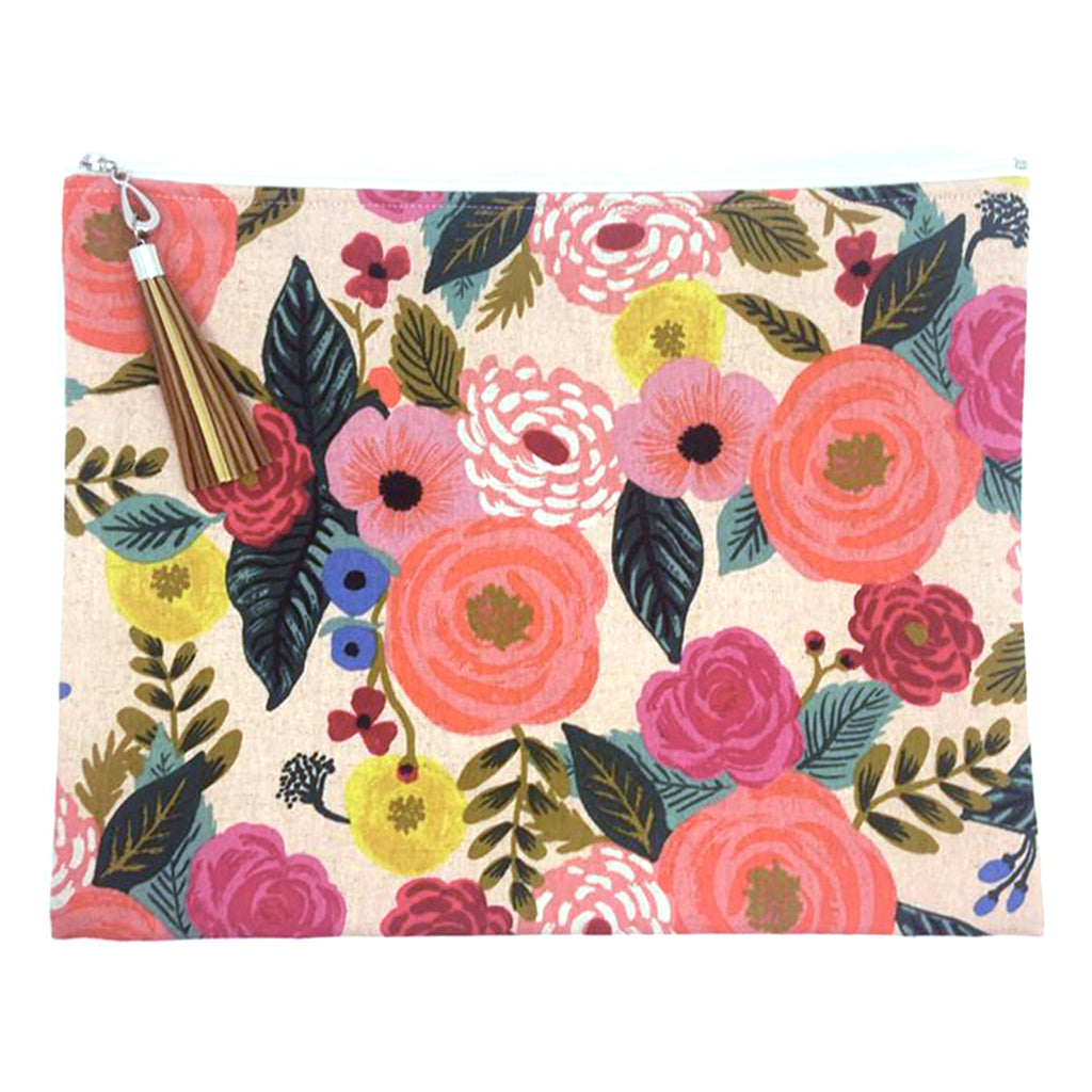 dana herbert bright pink floral canvas large pouch with zipper closure