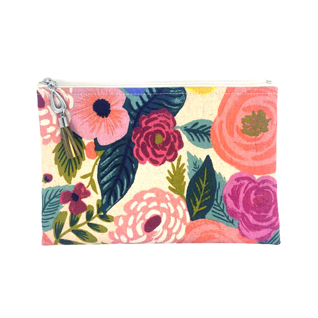 dana herbert bright pink floral print canvas wallet with zipper closure