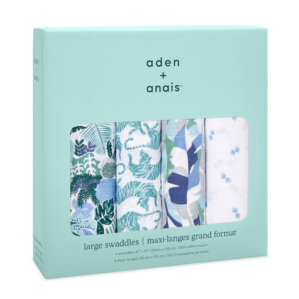 set of four swaddles in mint green box with dark green writing