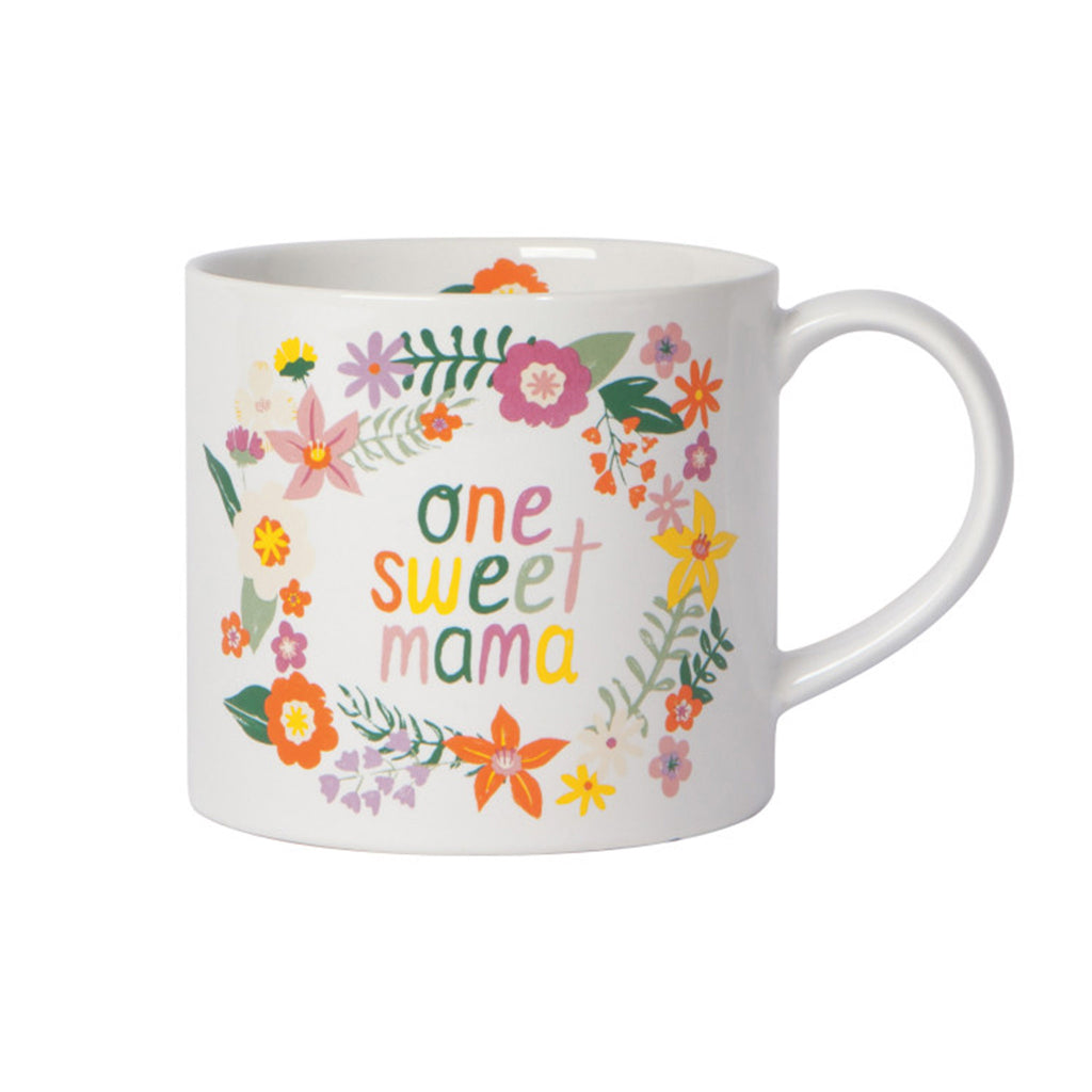 danica now designs one sweet mama ceramic coffee mug with floral design front view