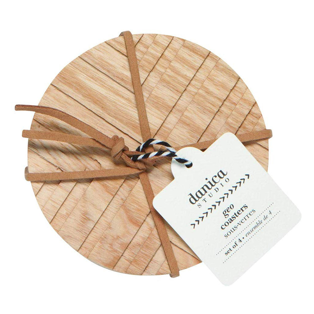 ash wood round coasters with geo cross design packaging