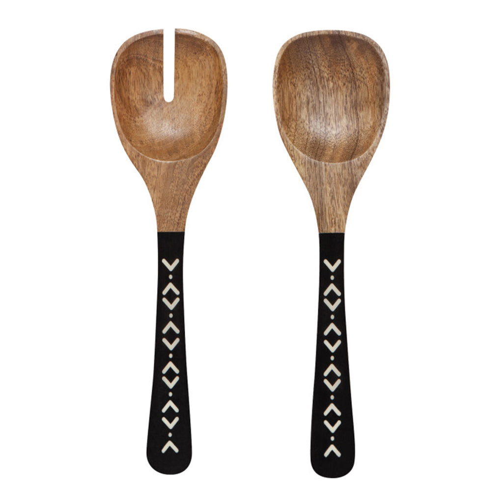 ziggy mango wooden salad servers black white enamel handles