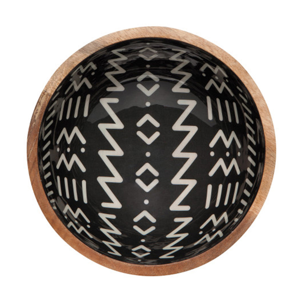 ziggy mango wood black and white enamel design serving bowl