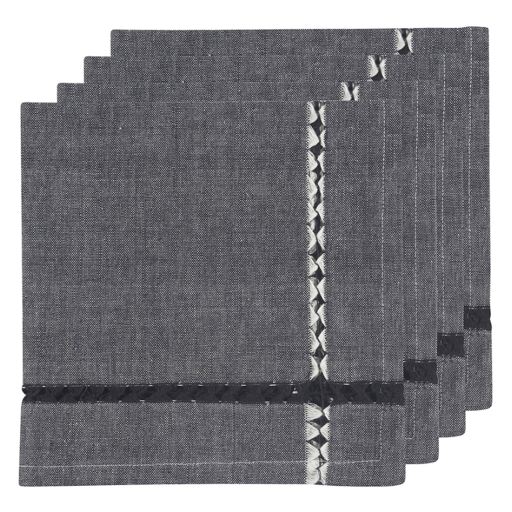 tangier woven napkin set in black