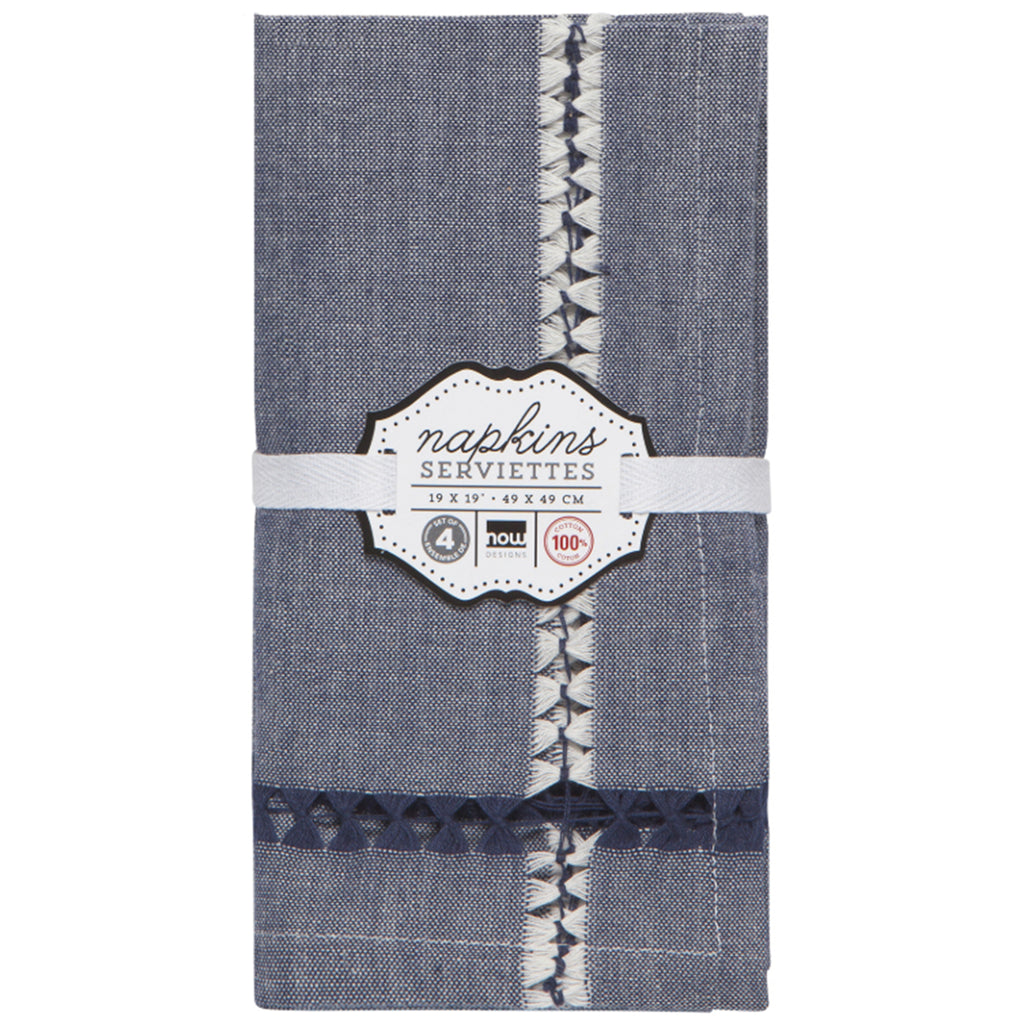 tangier woven napkin set in blue
