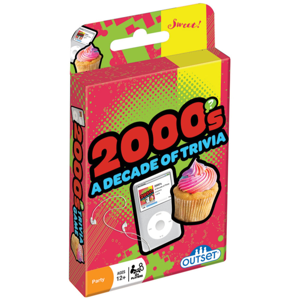 2000s decade of trivia set in red box with illustration of an ipod and cupcake