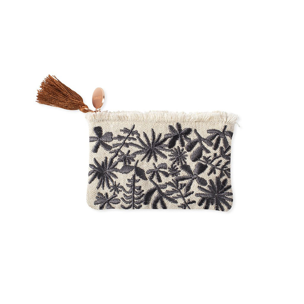 fringe studio desert flower canvas coin purse pouch with zipper