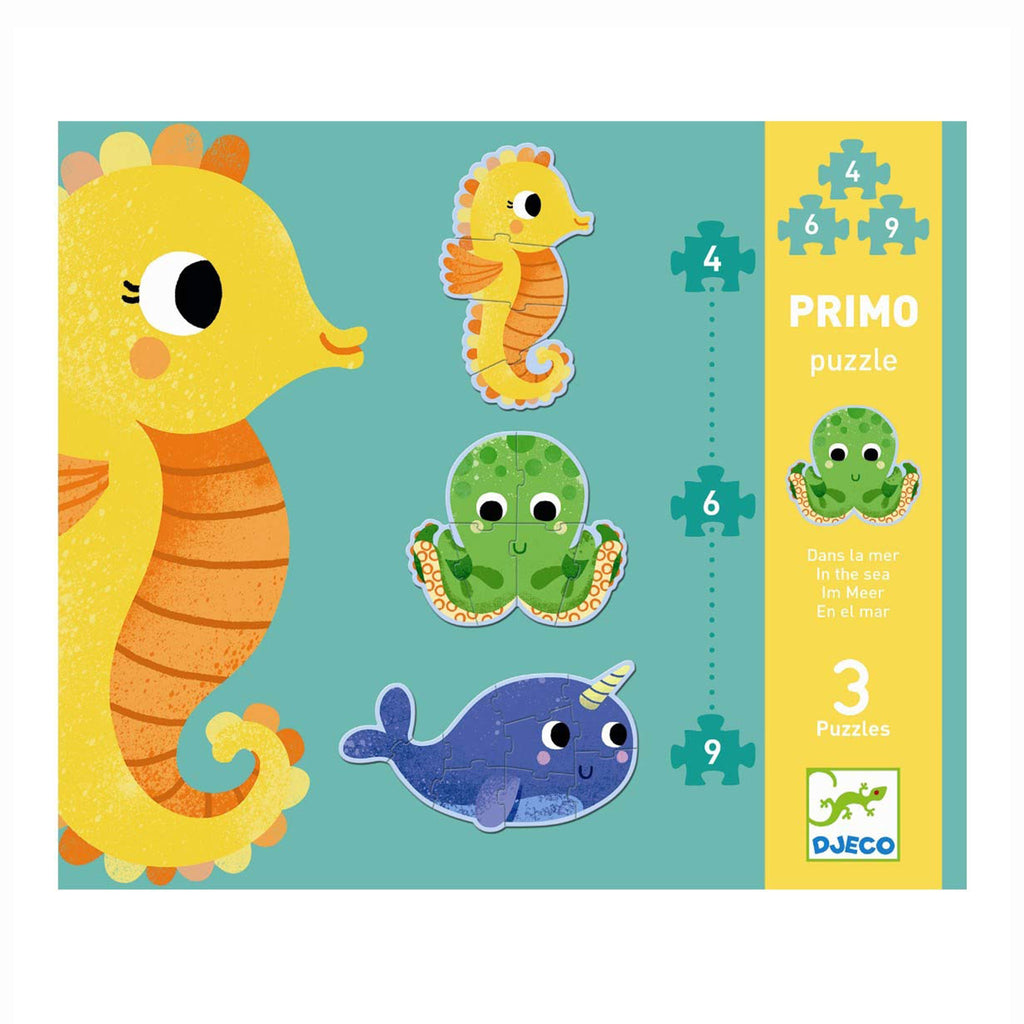 djeco in the sea progressive piece toddler jigsaw puzzle set in packaging front