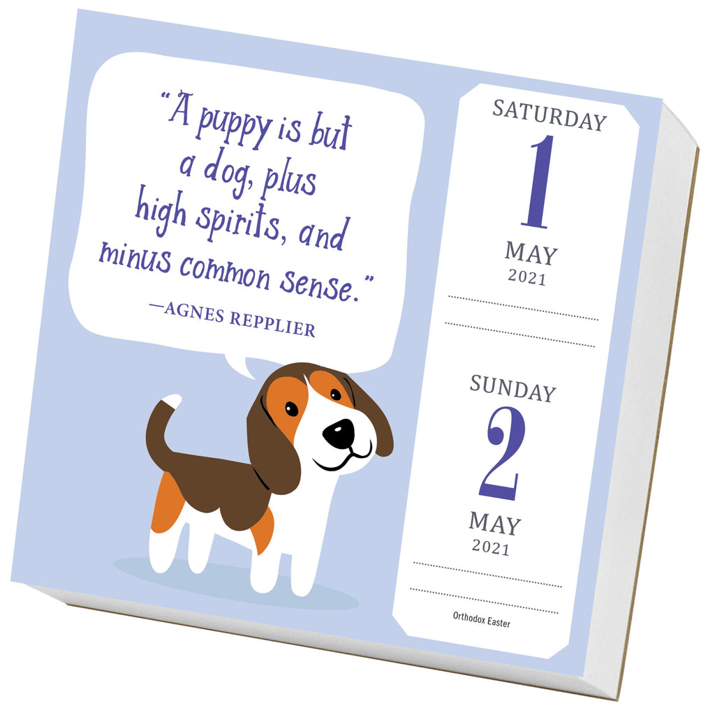 dog trivia page a day calendar sample page with color illustration of beagle dog on lavender background