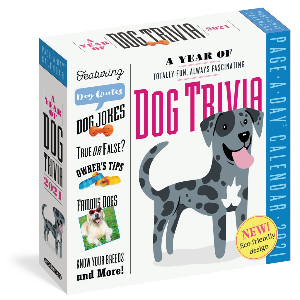 dog trivia page a day calendar in white box with pink and black text and illustration of gray and black spotted dog