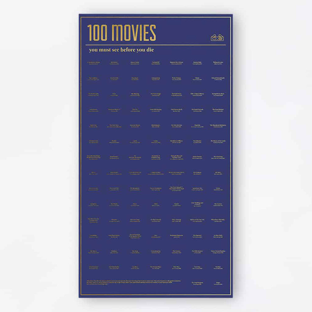 doiy design 100 movies you must see before you die interactive poster hanging