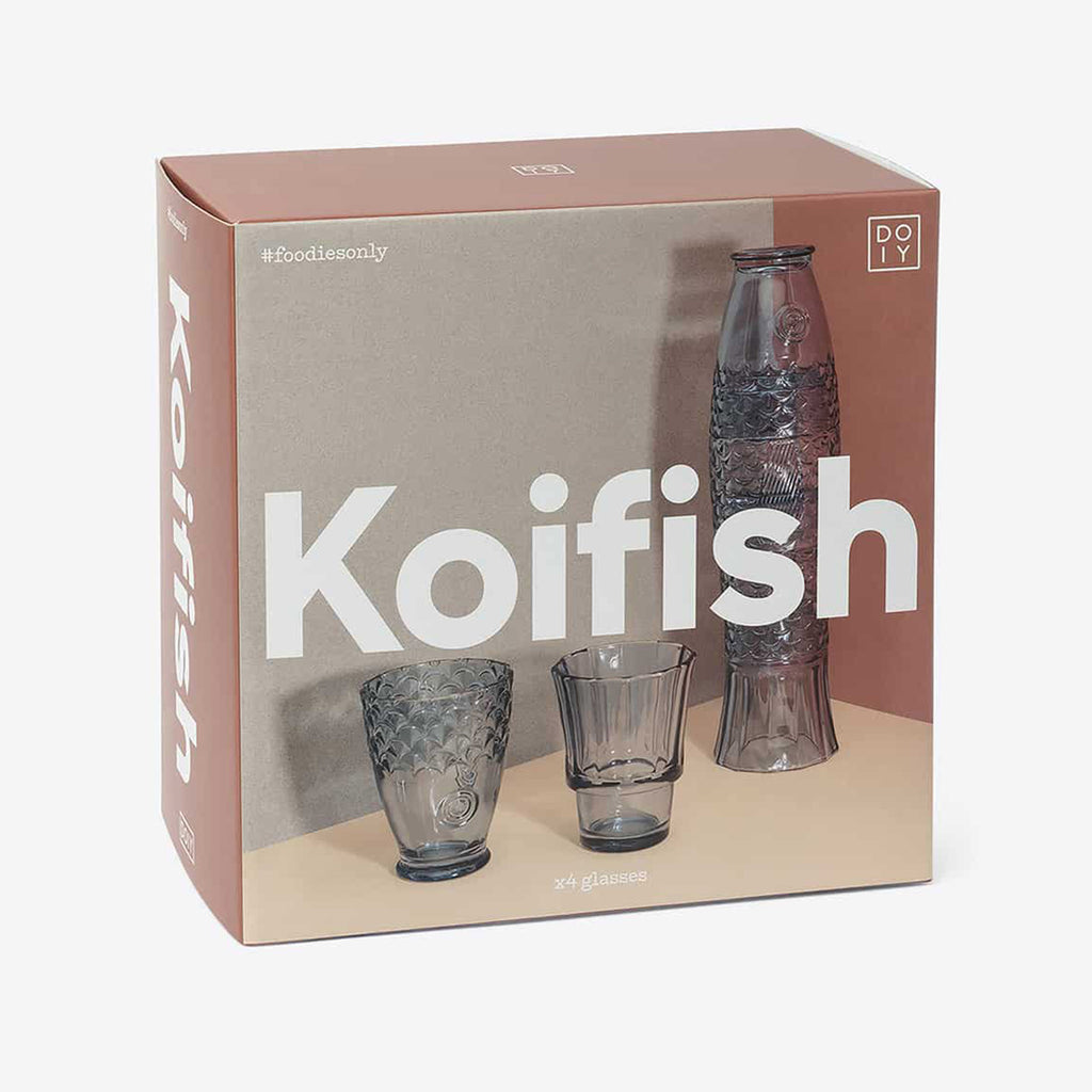 doiy design koi fish blue stacking glasses in packaging