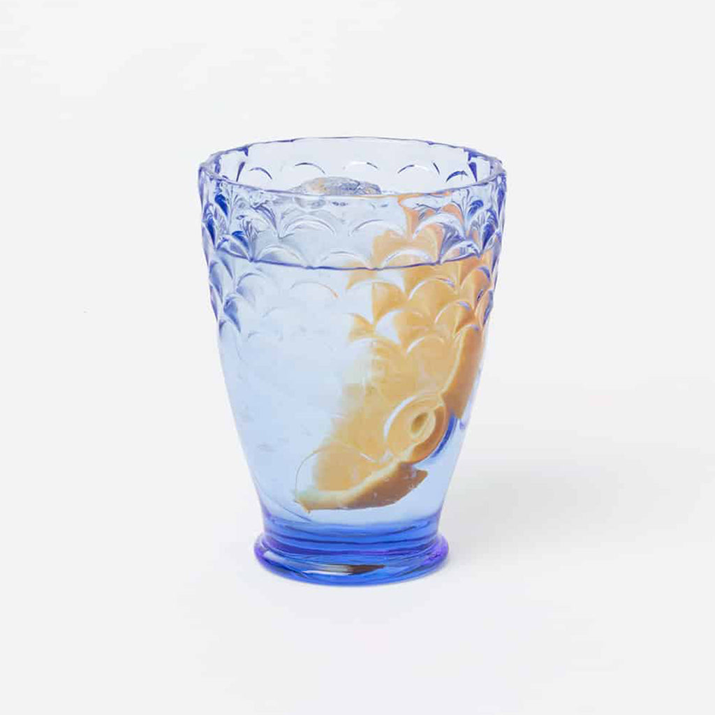 doiy design koi fish blue stacking glasses single glass with water and orange slice