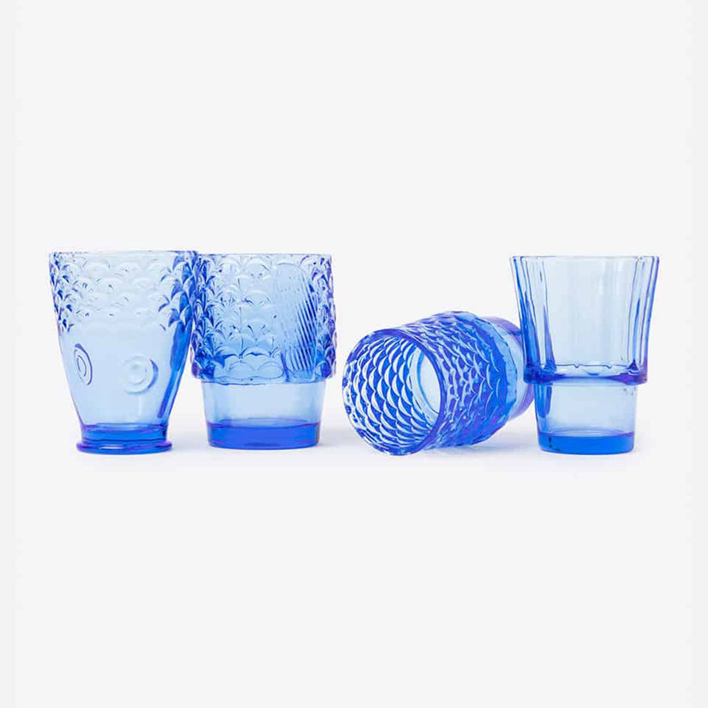 doiy design koi fish blue stacking glasses separated