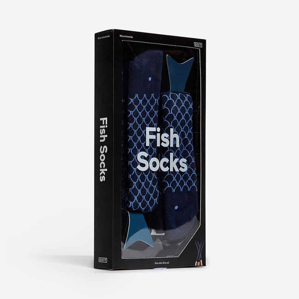 doiy design navy blue fish unisex pair of socks in packaging