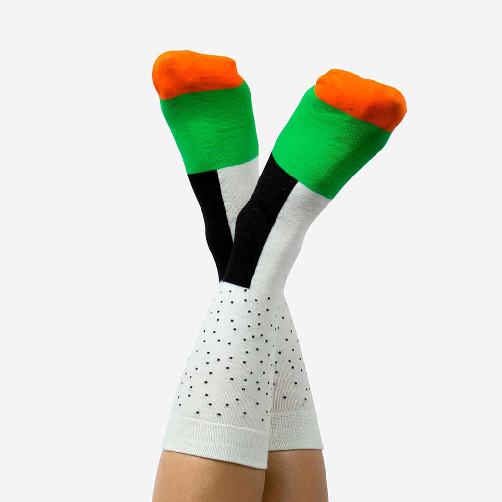 doiy design salmon lovers sushi socks 3 pack green on feet