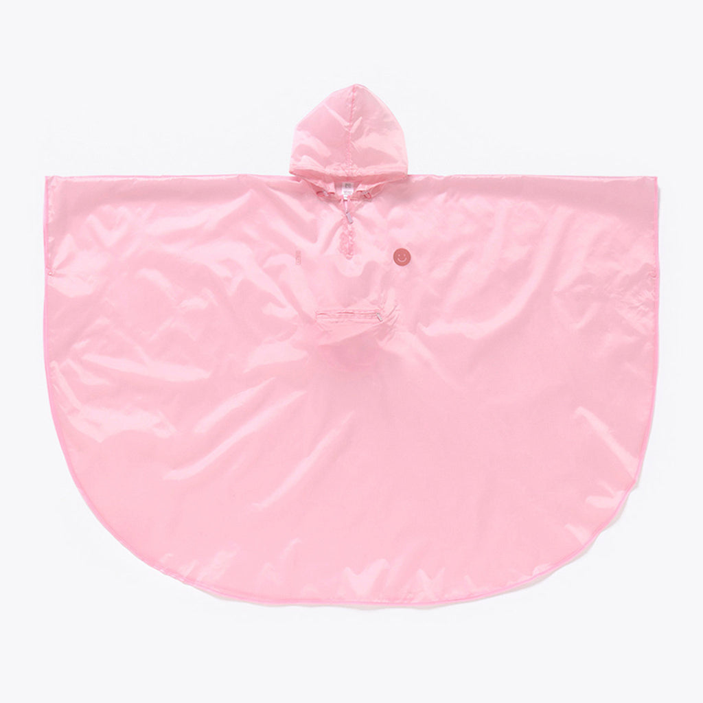doiy design smile in the rain pink adult rain poncho unfolded