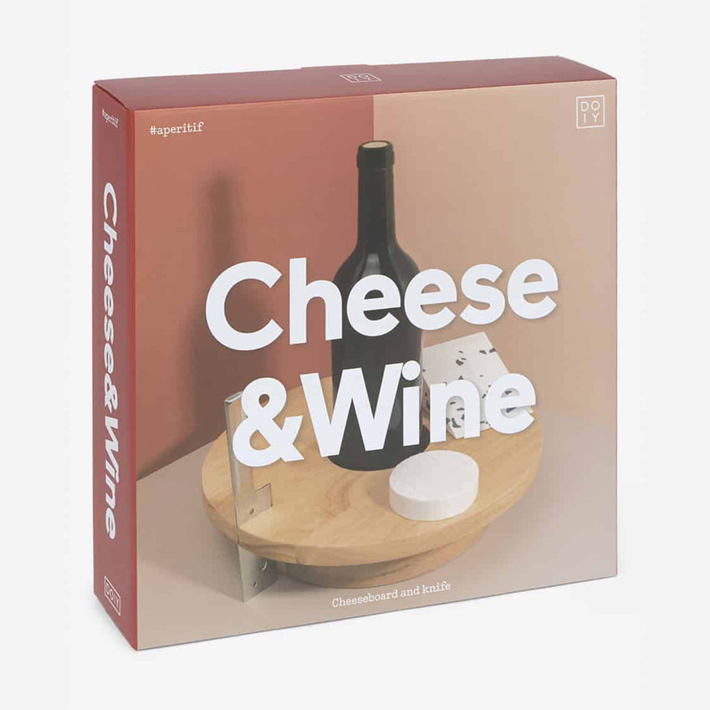 doiy wood cheese & wine serving board with knife in packaging