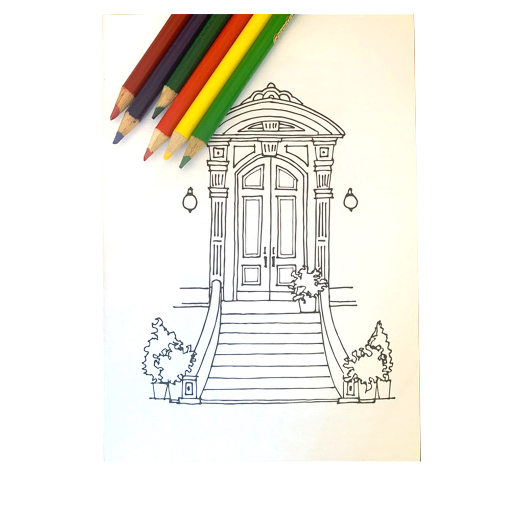 drawingabriela the coloring book brooklyn brownstones and more brownstone entry sample page
