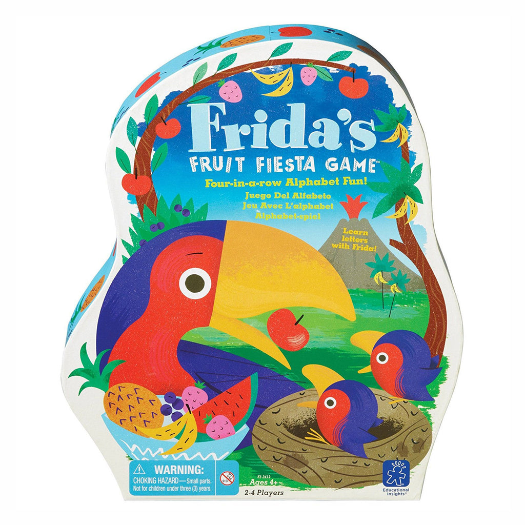 educational insights frida's fruit fiesta kids four-in-a-row alphabet game packaging