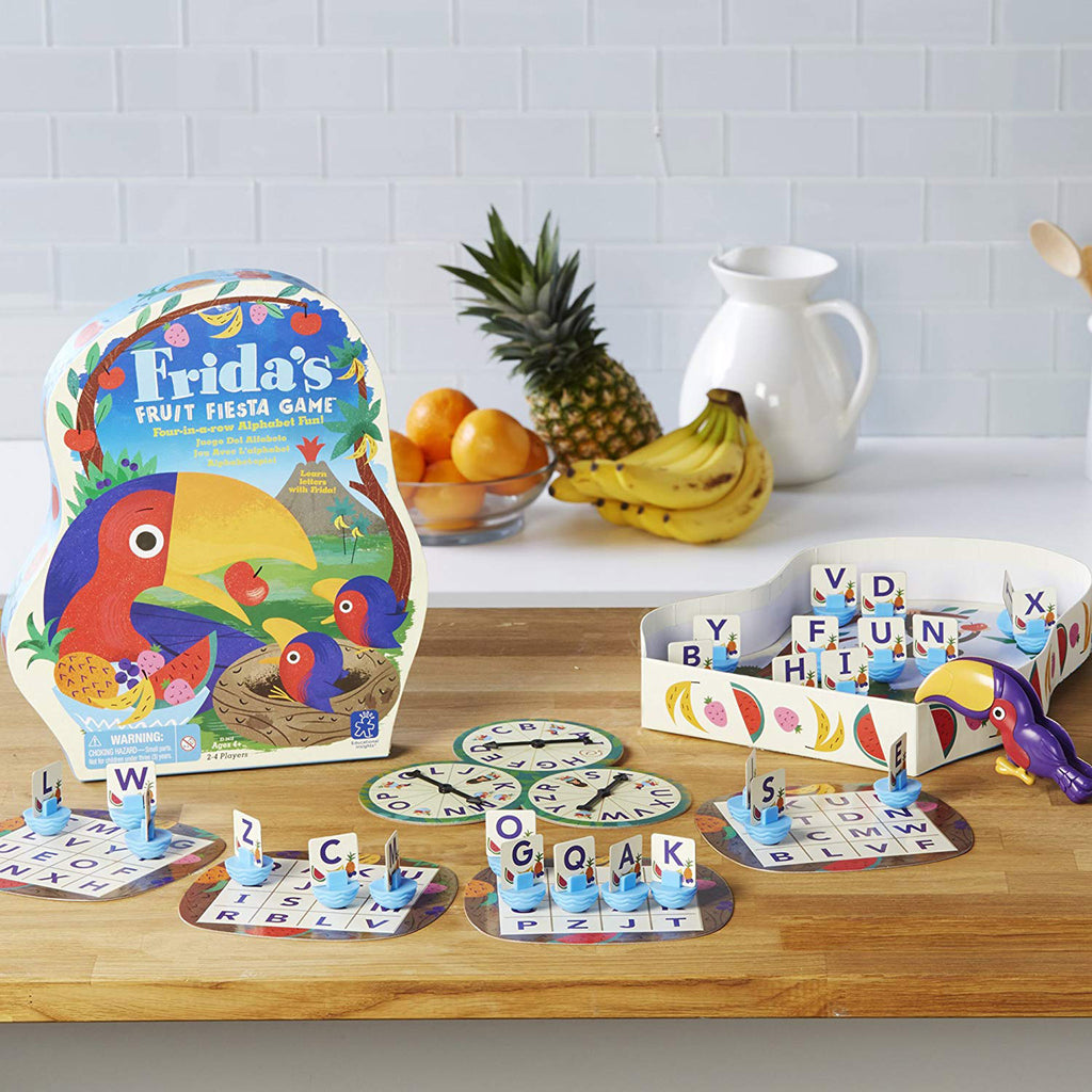 educational insights frida's fruit fiesta kids four-in-a-row alphabet game contents