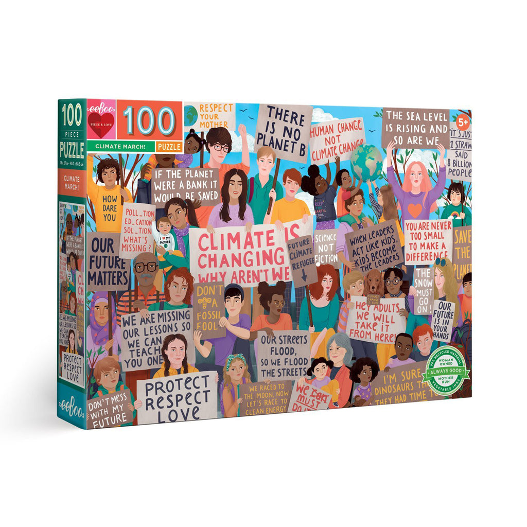 eeboo 100 piece climate march kids jigsaw puzzle box front angle