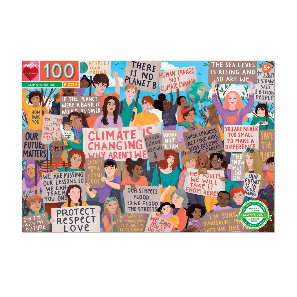eeboo 100 piece climate march kids jigsaw puzzle box front