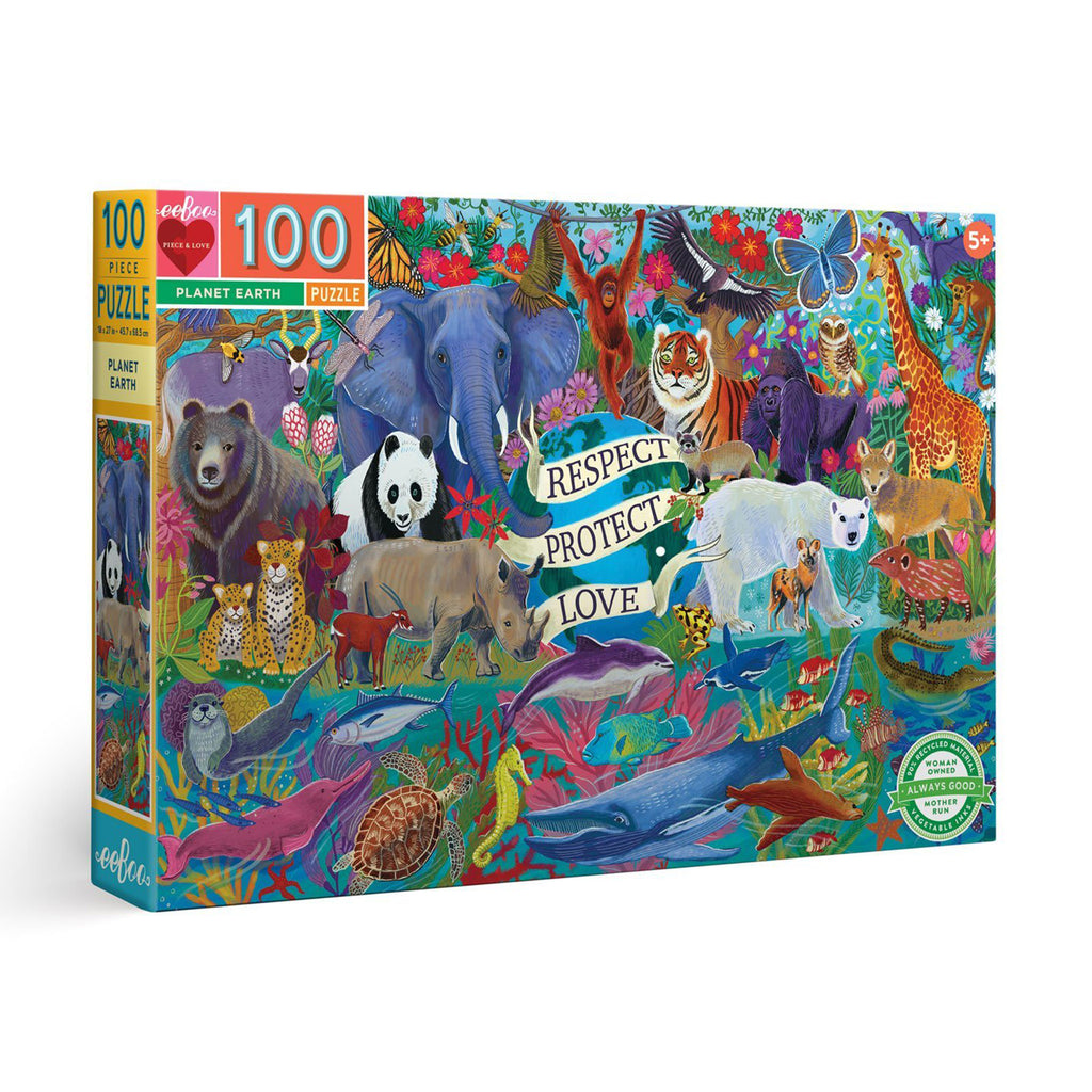 eeboo 100 piece planet earth kids jigsaw puzzle box front angle