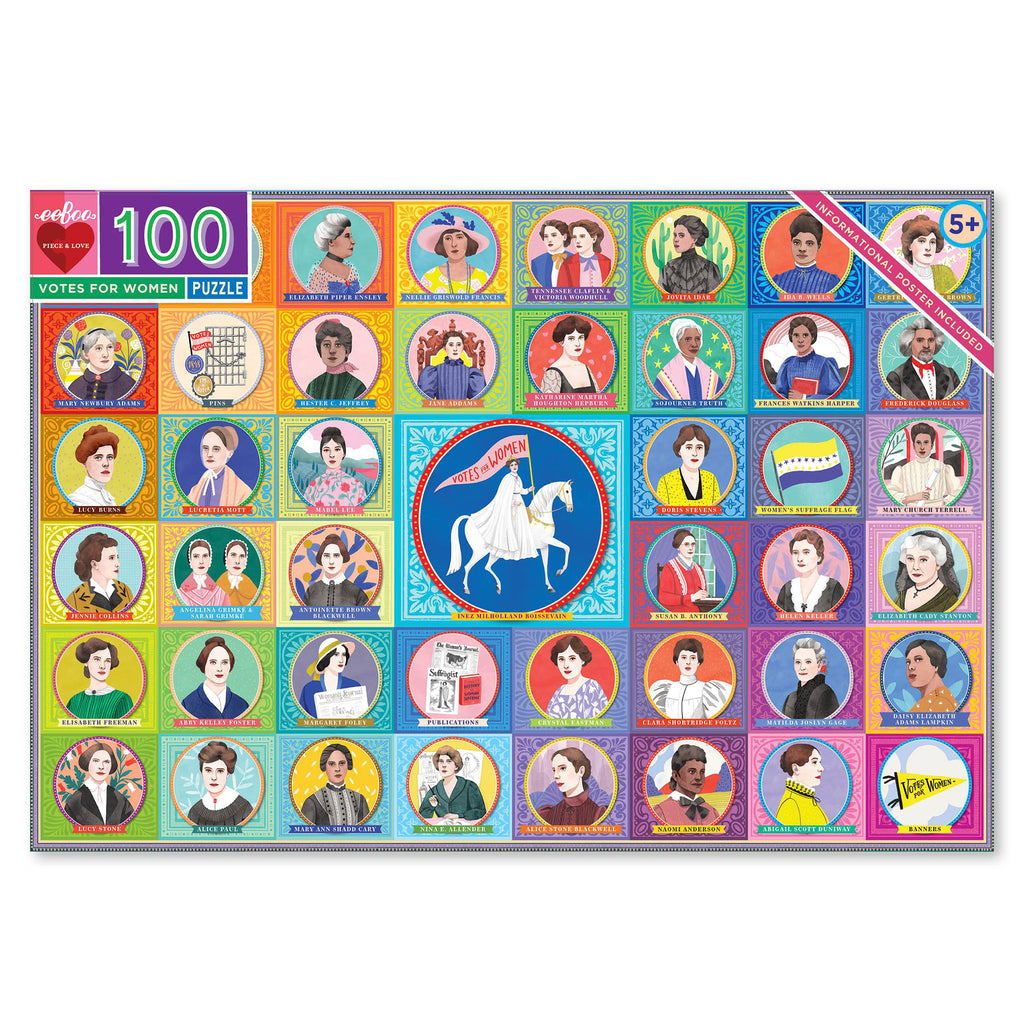 eeboo 100 piece votes for women jigsaw puzzle box front
