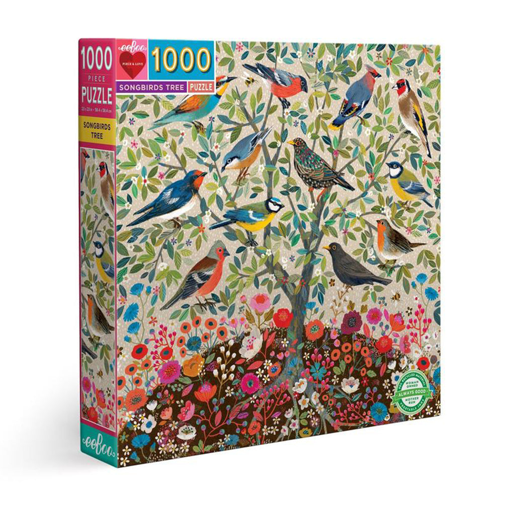 eeboo 1000 piece songbirds tree jigsaw puzzle box front