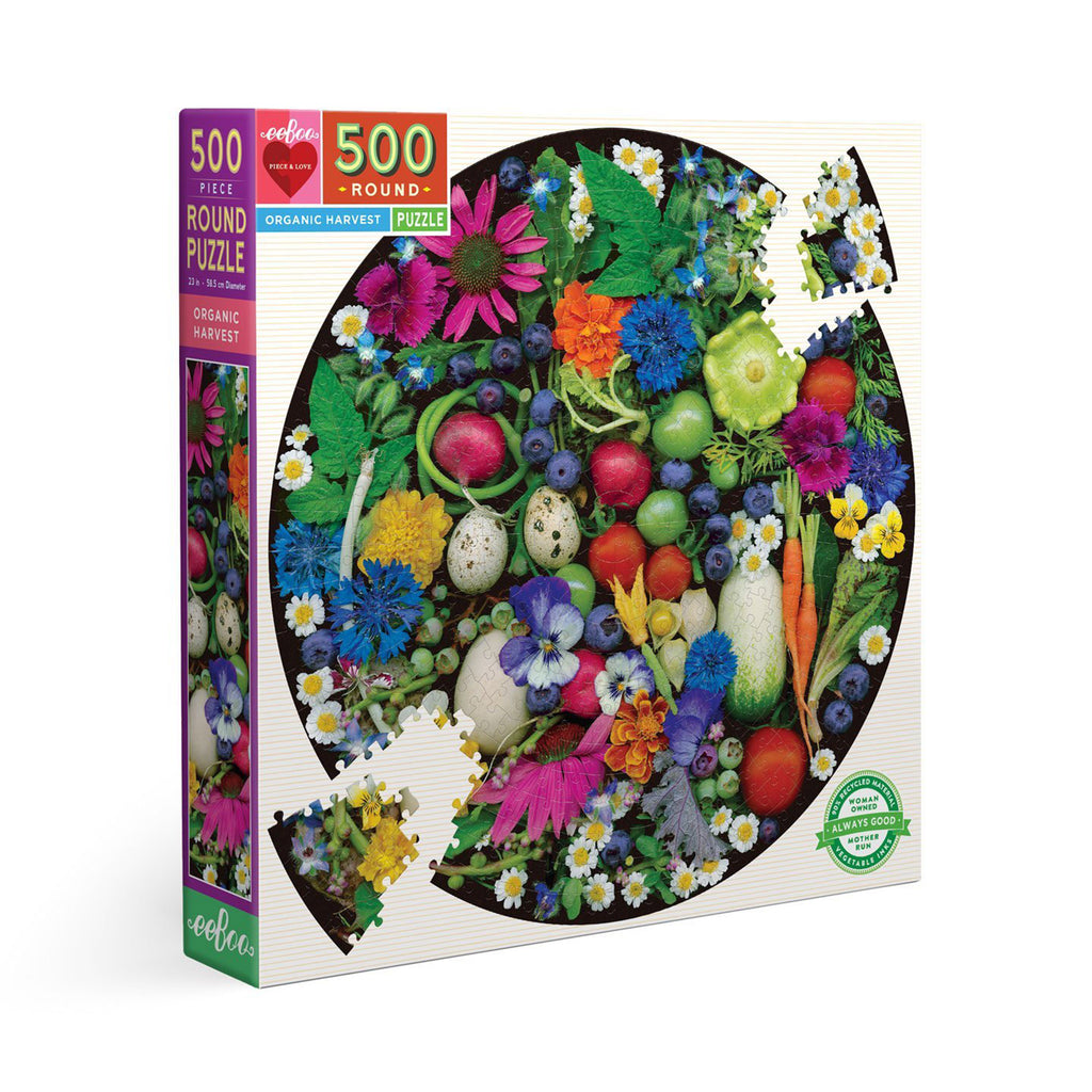 eeboo 500 piece organic harvest round jigsaw puzzle box front angle