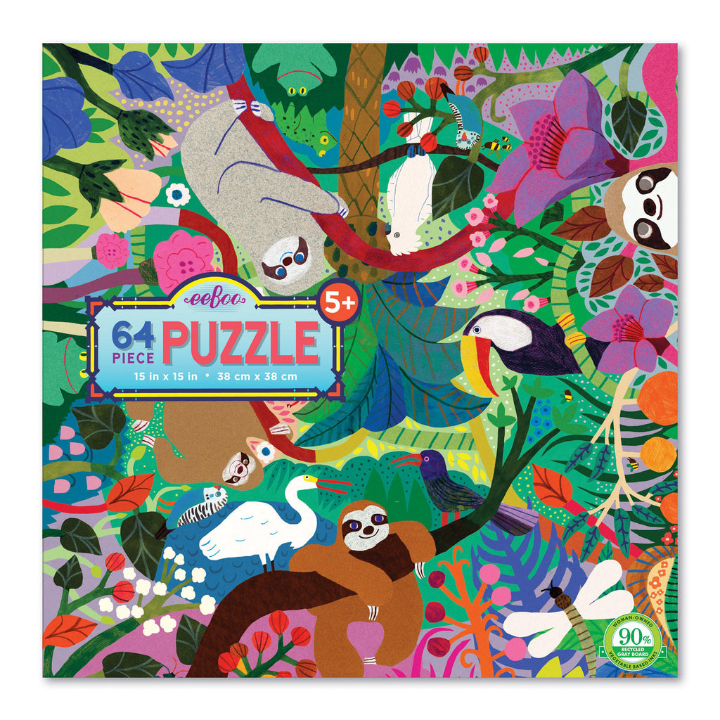 eeboo 64 piece sloths at play kids jigsaw puzzle box front