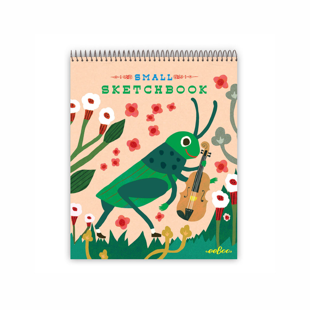 eeboo small spiral bound sketchbook animal assortment grasshopper cover