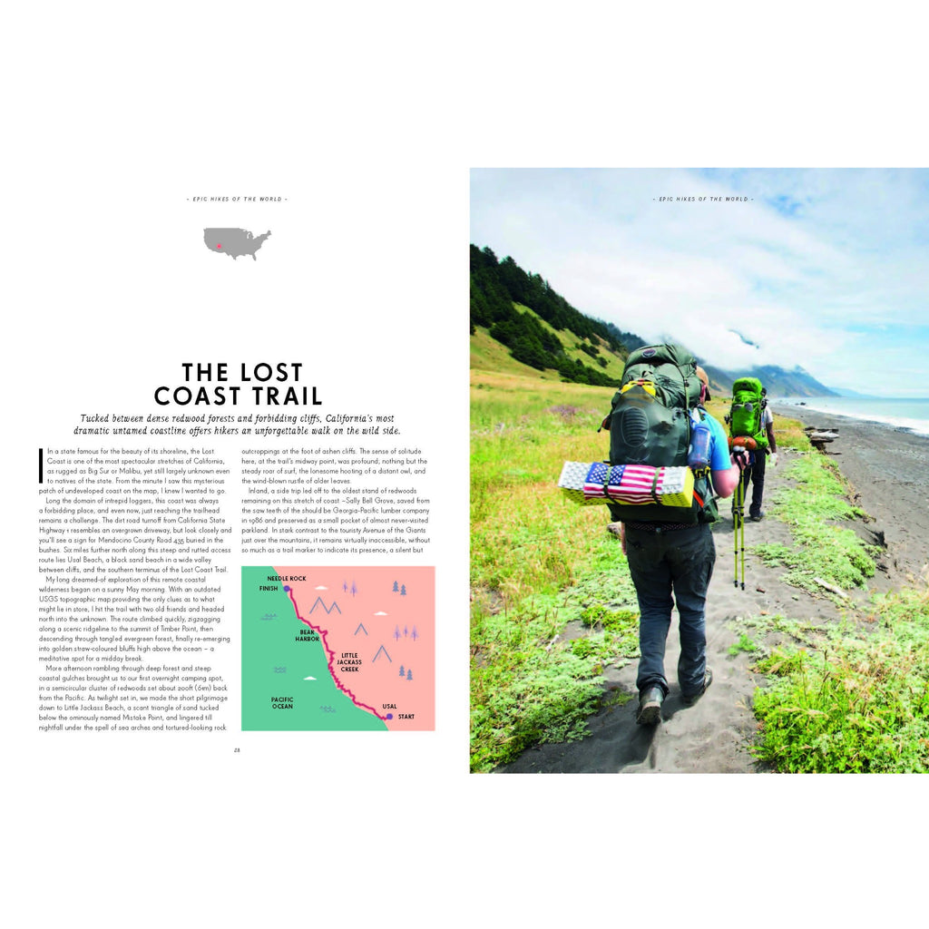 detail page of epic hikes of the world book with photograph and description of the Lost Coast Trail in California