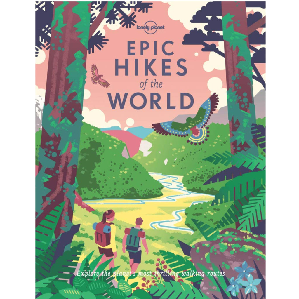 epic hikes of the world book with colorful illustration of two people hiking in nature