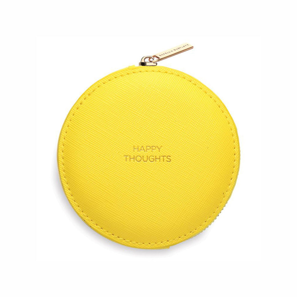 estella bartlett happy thoughts yellow compact circle coin purse with front view