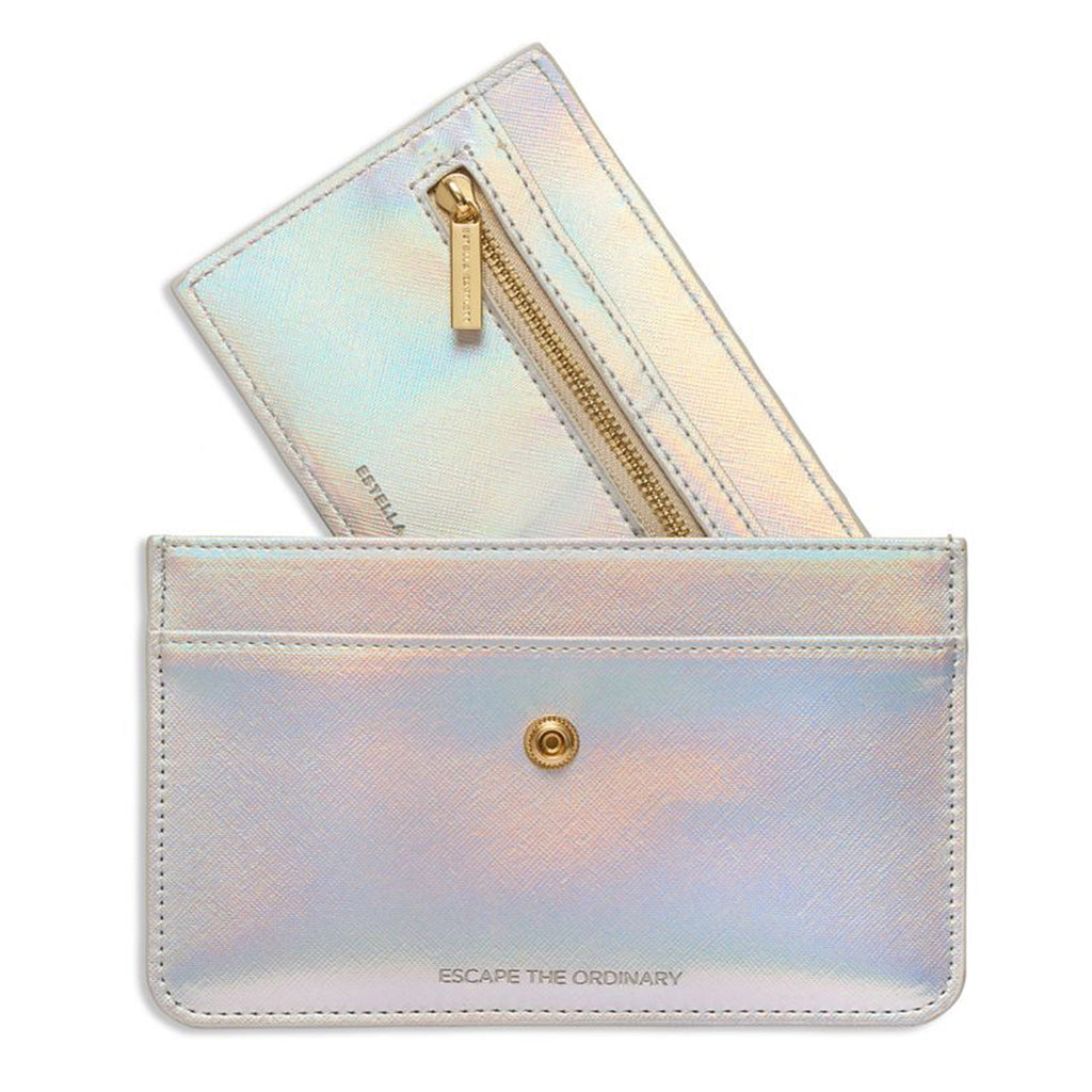 estella bartlett iridescent escape the ordinary travel document wallet with removable card holder with zipper pocket
