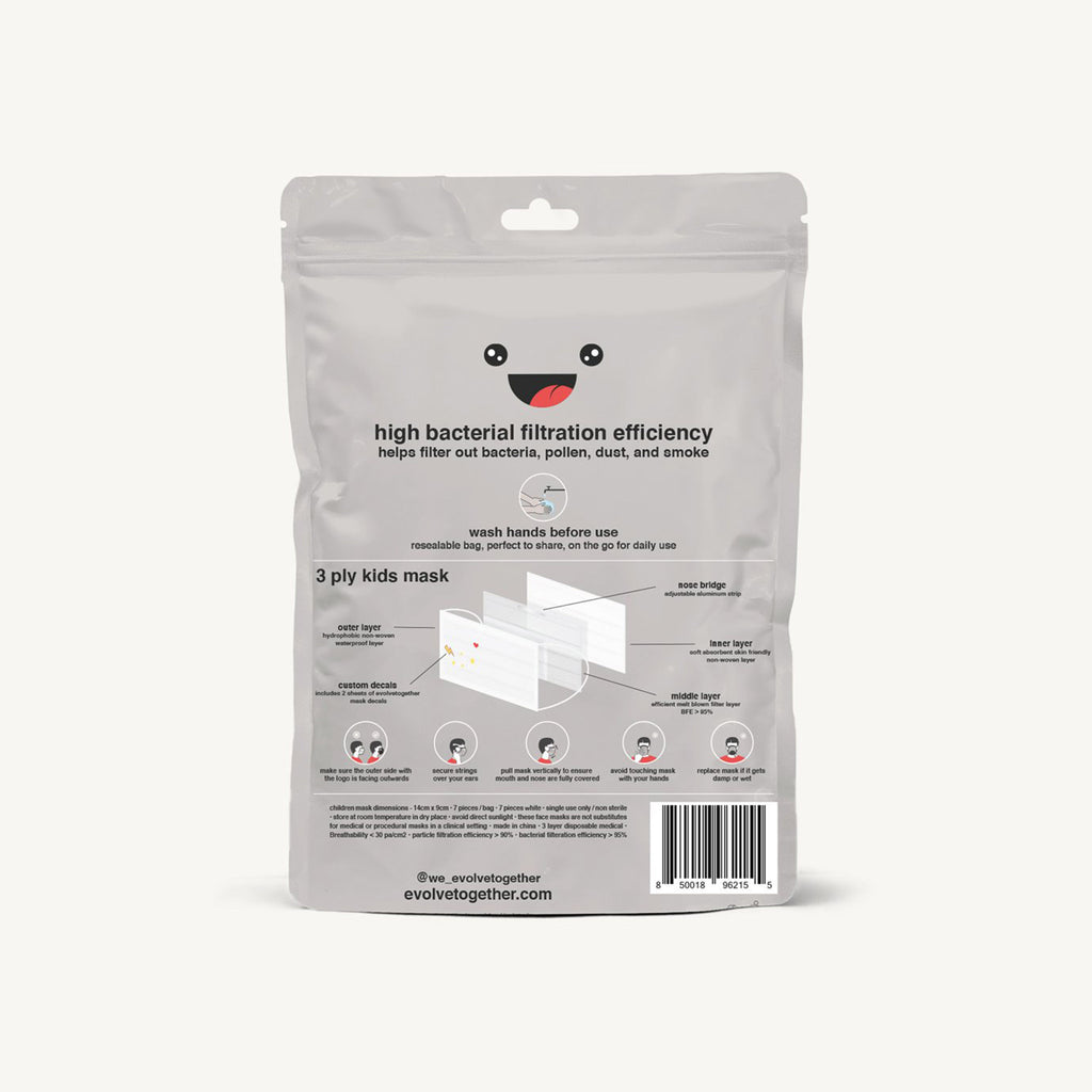 evolvetogether nyc white disposable kid sized protective face masks pack of seven back view of packaging