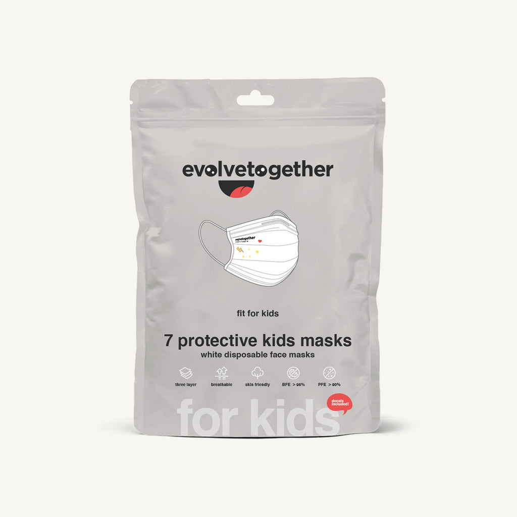 evolvetogether nyc white disposable kid sized protective face masks pack of seven front view of packaging