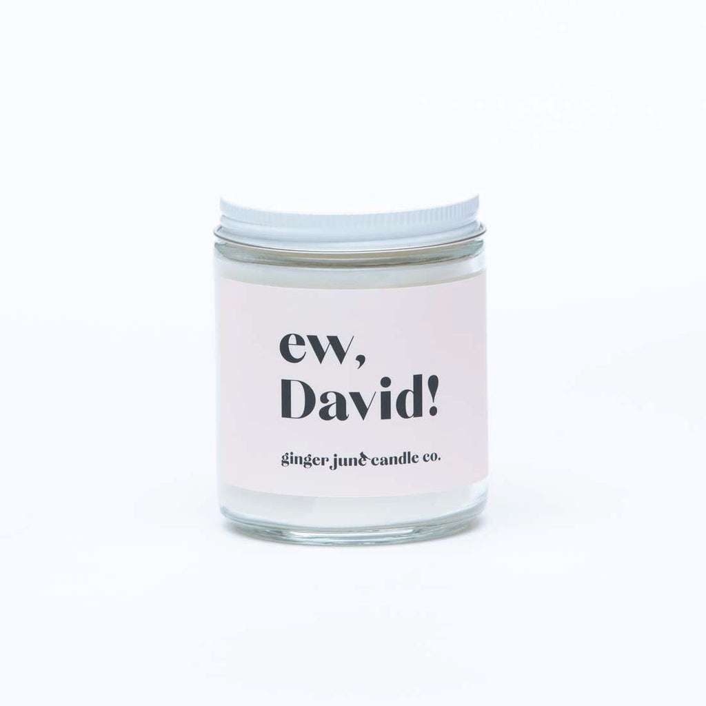 ginger june ew david! schitts creek themed scented soy wax jar candle