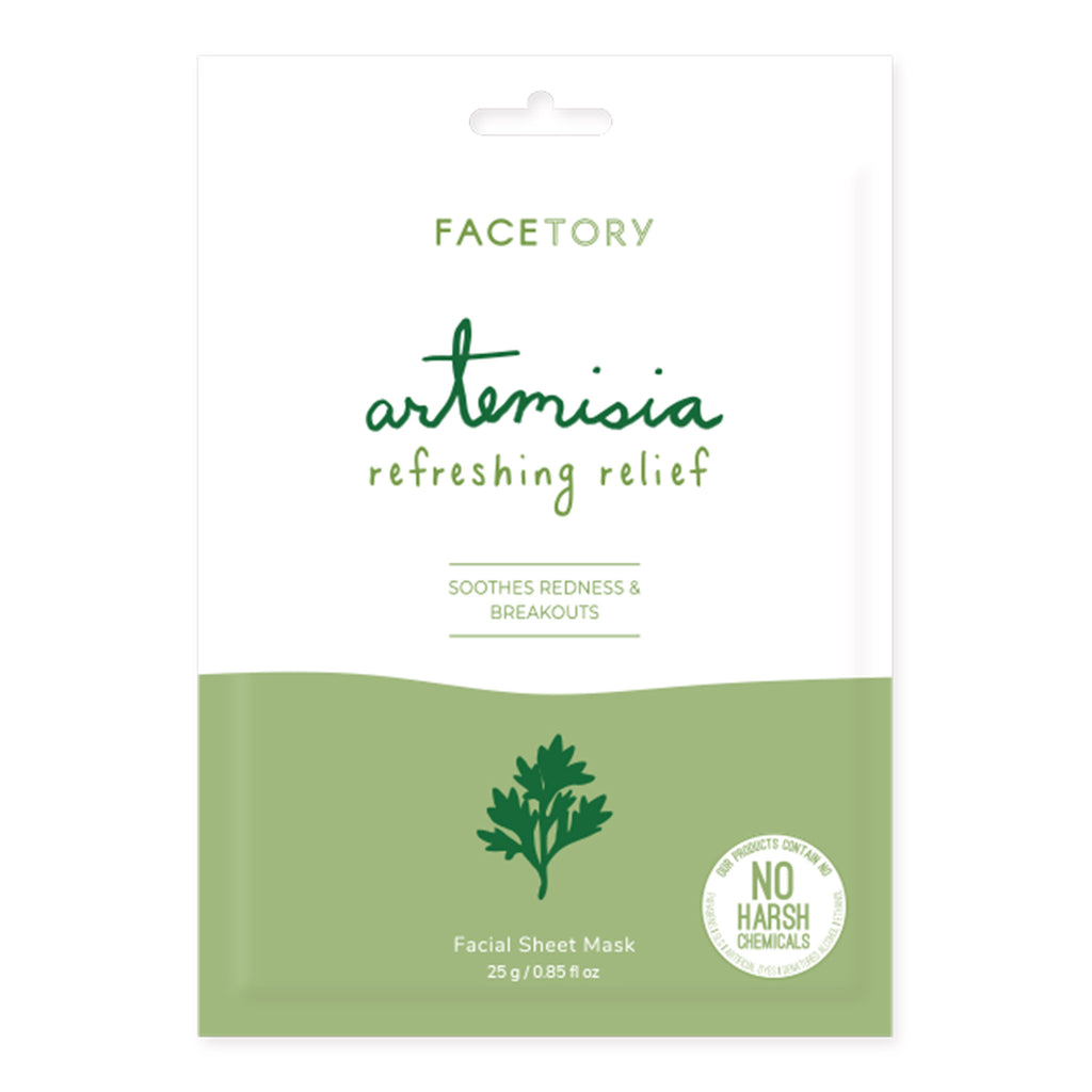facetory artemisia refreshing relief sheet face mask packaging front