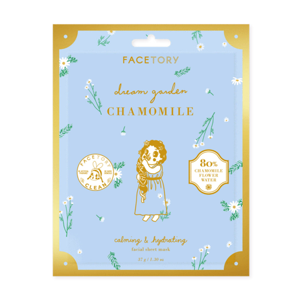 facetory dream garden chamomile calming and hydrating waffle facial sheet mask packaging front