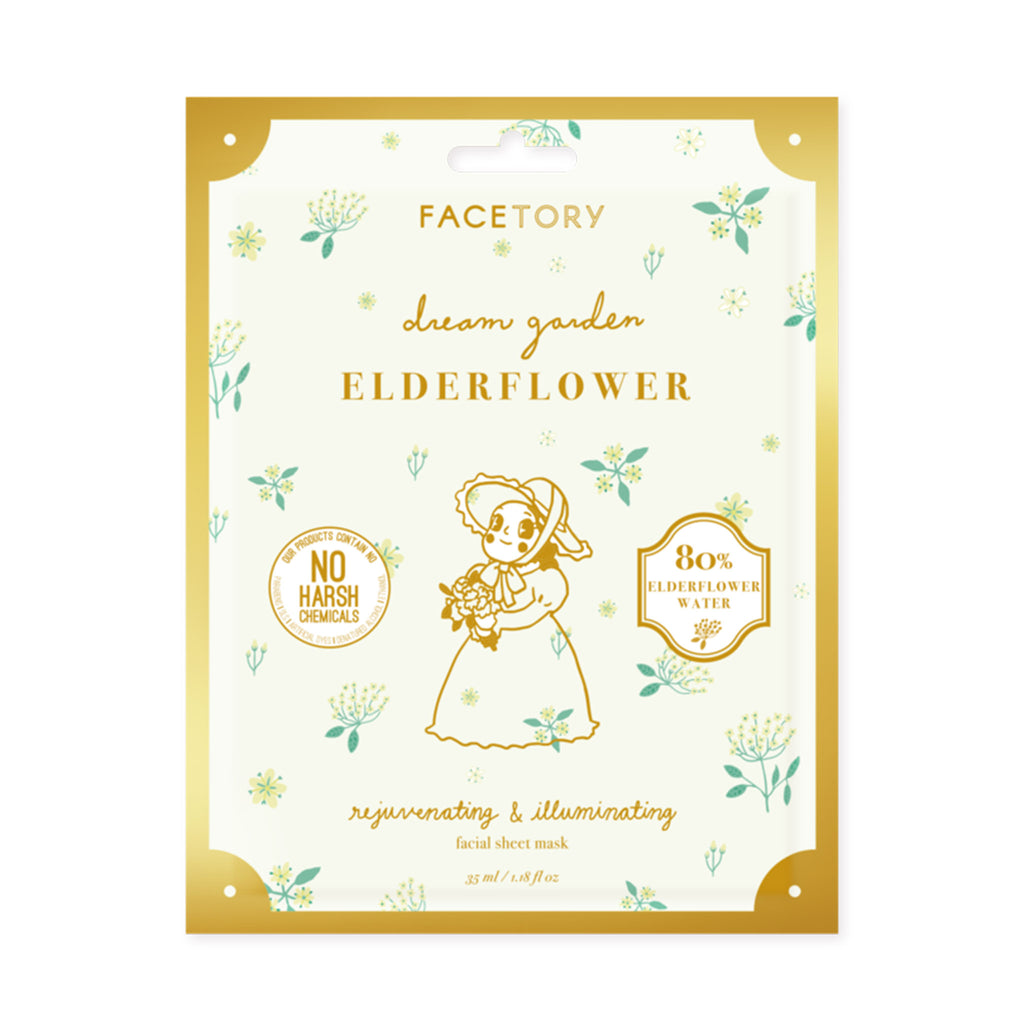 facetory dream garden elderflower rejuvenating and illuminating sheet face mask packaging front