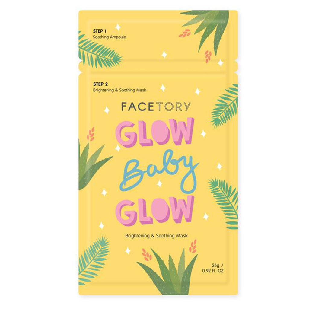 facetory glow baby glow brightening and soothing ampoule with sheet face mask packaging front