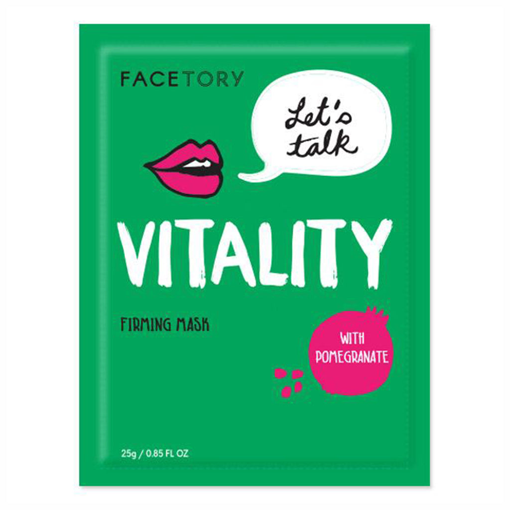 facetory lets talk vitality firming sheet face mask with pomegranate packaging front