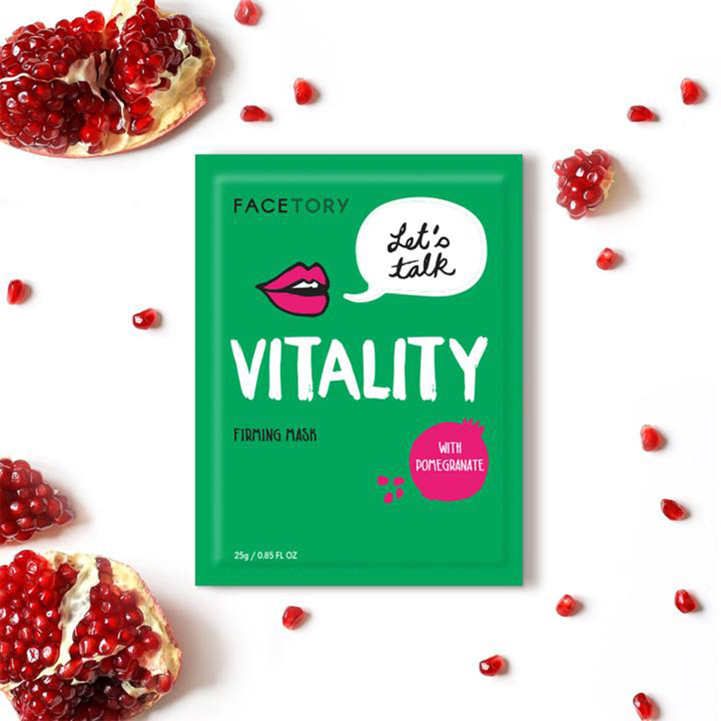 facetory lets talk vitality firming sheet face mask with pomegranate packaging with pomegranate seeds