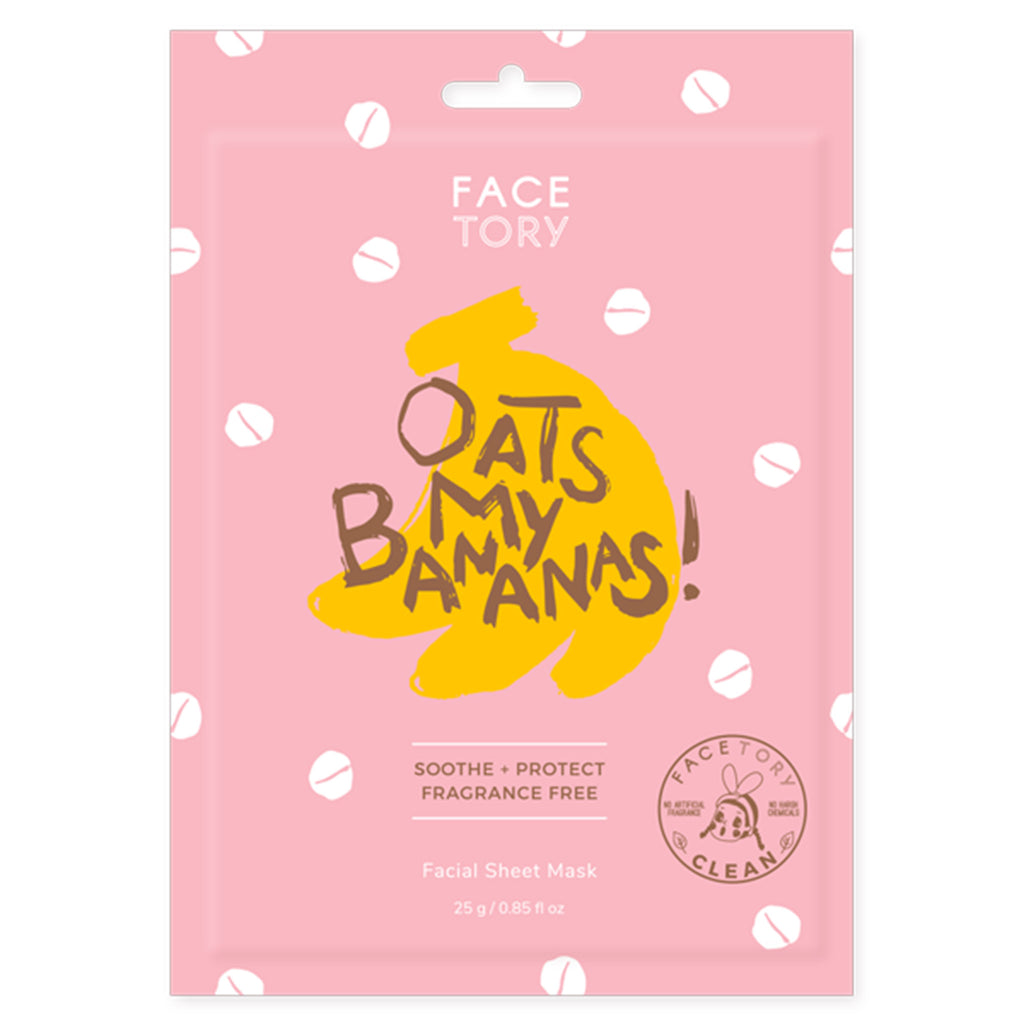 facetory oats my bananas soothing facial sheet mask packaging front