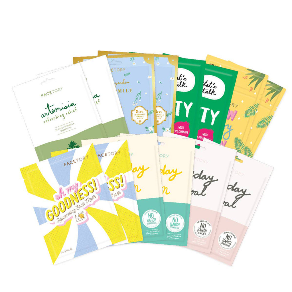 facetory spring season sheet face mask essentials bundle contents
