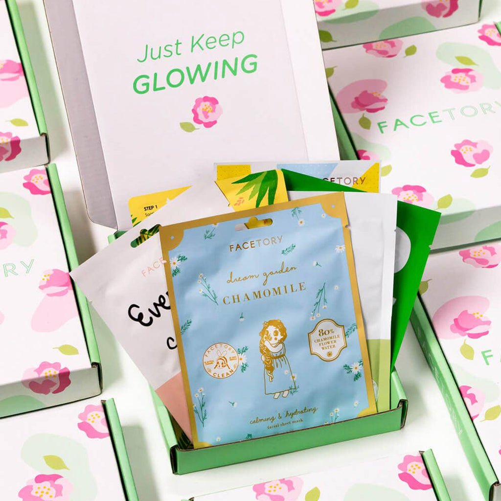 facetory spring season sheet face mask essentials bundle in packaging